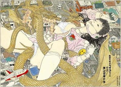 """地球防衛少女イコちゃん VS キングギドラ   """"The member of the giant Ico Chan vs. King Gidora""""  by 会田誠"""