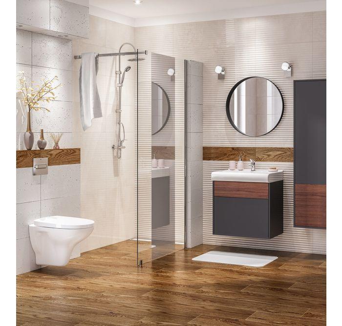 Przytulna Lazienka W Drewnie Leroy Merlin Glazura Senza Tubadzin Round Mirror Bathroom Bathroom Bathroom Mirror
