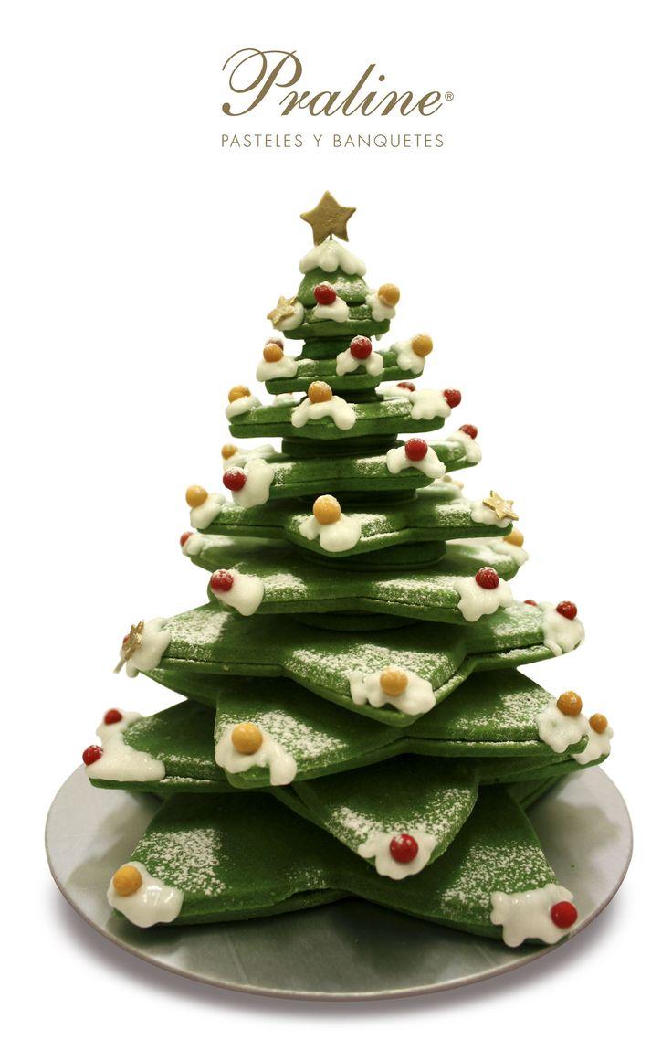 Hermoso Pino de Navidad hecho de galletas de https://www.facebook.com/Praline.Mexico/