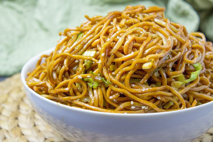 Classic Chinese Chow Mein - oyster sauce, soy sauce, sweet soy sauce, chow mein noodles, cabbage, garlic