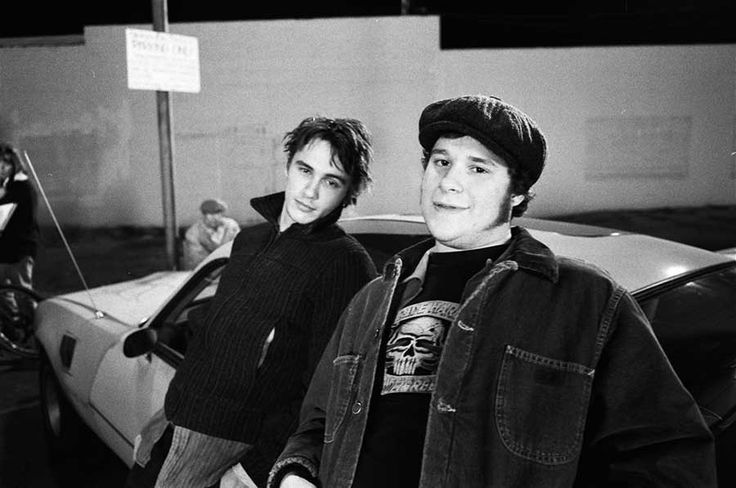 James Franco and Seth Rogen on the set of Freaks and Geeks