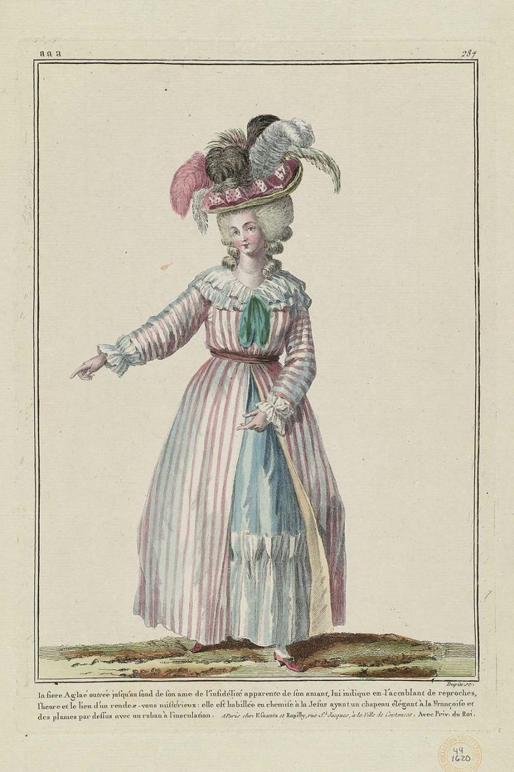 """Hand-Colored Engraving on Laid Paper, engraved by Nicolas Dupin (French), published by Esnauts et Rapilly (French, 18th century): 1785, from """"Gallerie des Modes et Costumes Français,"""" (Gallery of French Fashion and Costumes)."""