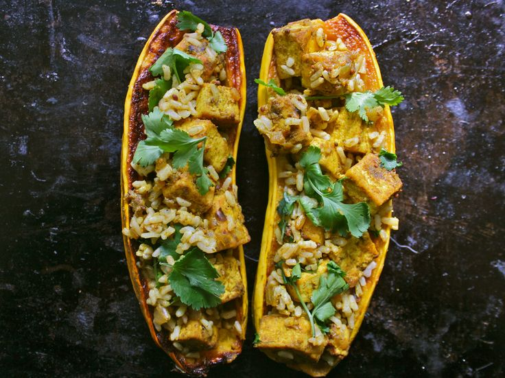 Tofu Curry Stuffed Delicata Squash | Vegan Entrees ...