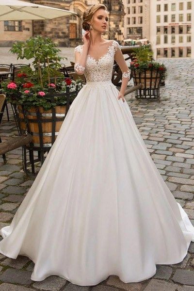 Modest Tulle & Satin Scoop Neckline A-line Wedding Dress With Lace Appliques & Beadings & Pockets,LV1238 from LaviDress