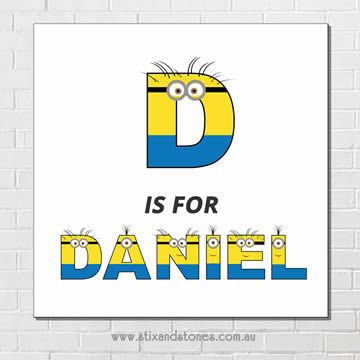 Minions Personalised Name Plaque canvas for kids wall art - Square white…