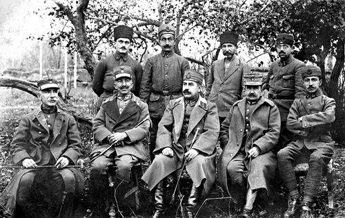 POW Greek generals at the Kırşehir POW camp: from left to right; Colonel Dimitrios Dimaras (commander of 4th Division), Major General Nikolaos Trikoupis (commander of I Corps), Staff Colonel Adnan or Kemaleddin Sami, Major General Kimon Digenis (commander of II Corps) and Lieutenant Emin.