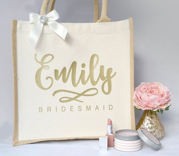 Personalised Large Bridesmaid Jute Gift Bag by HanmadeDesignsUK