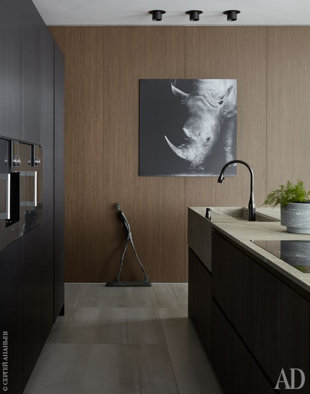"""Кухня, Modulnova. Встроенные шкафы сделаны из черненого алюминия, """"остров"""" отделан окисленным дубом, а столешница и раковина — из мрамора. Техника, Gaggenau. Смесители, KWC. Стена обшита деревянными панелями, Barausse. Картина с носорогом из BoConcept."""