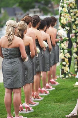 I placed stepping stones for each of the bridesmaids as well as a larger one for the bride so their heels would not dig into the ground.