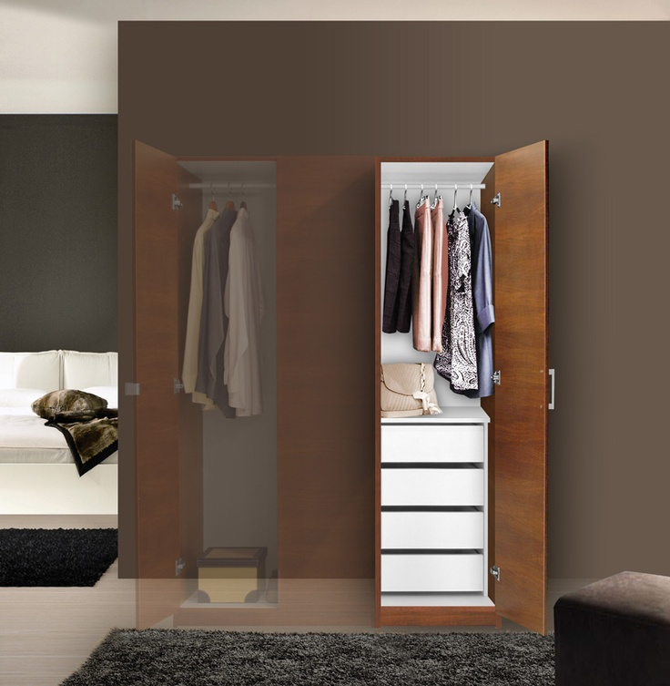 Alta Super Space Saver   Narrow Wardrobe, Right Door, 4 Interior Drawers