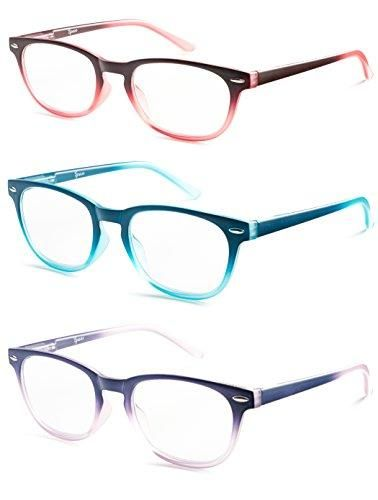 487301c7e43 Colorful Round Womens Reading Glasses for Reading - Set of 3 - Blue ...