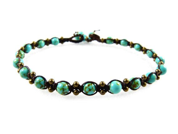 Anklet Turquoise Beads Macrame Thai Boho Tribal by ValaddaJewelry