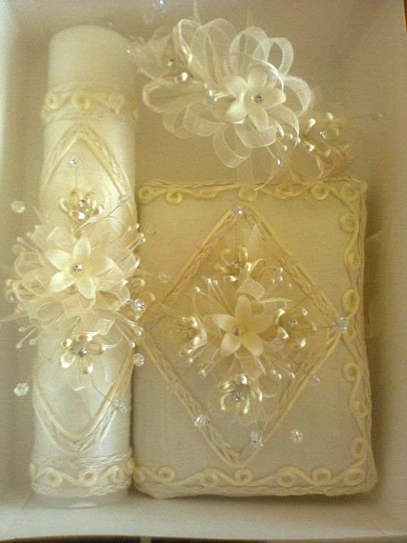 First Communion candle head Comb crystal set by FANNYCARMENDESIGN