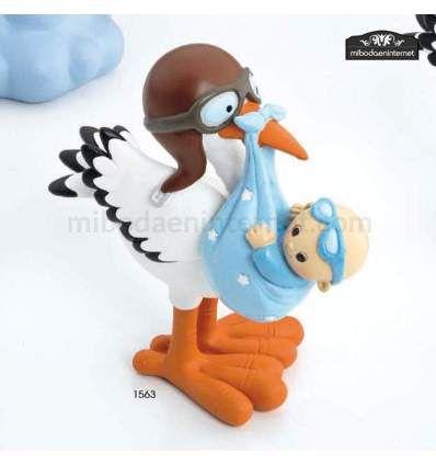 Cigueña Bebé Gafitas Celeste