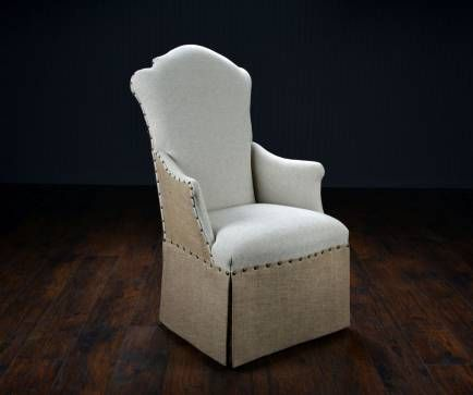 Burlap and Linen High Back Dining Chair with Skirted ...