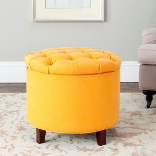 Safavieh Amelia Tufted Tangerine Storage Ottoman | Overstock.com Shopping - The Best Deals on Ottomans
