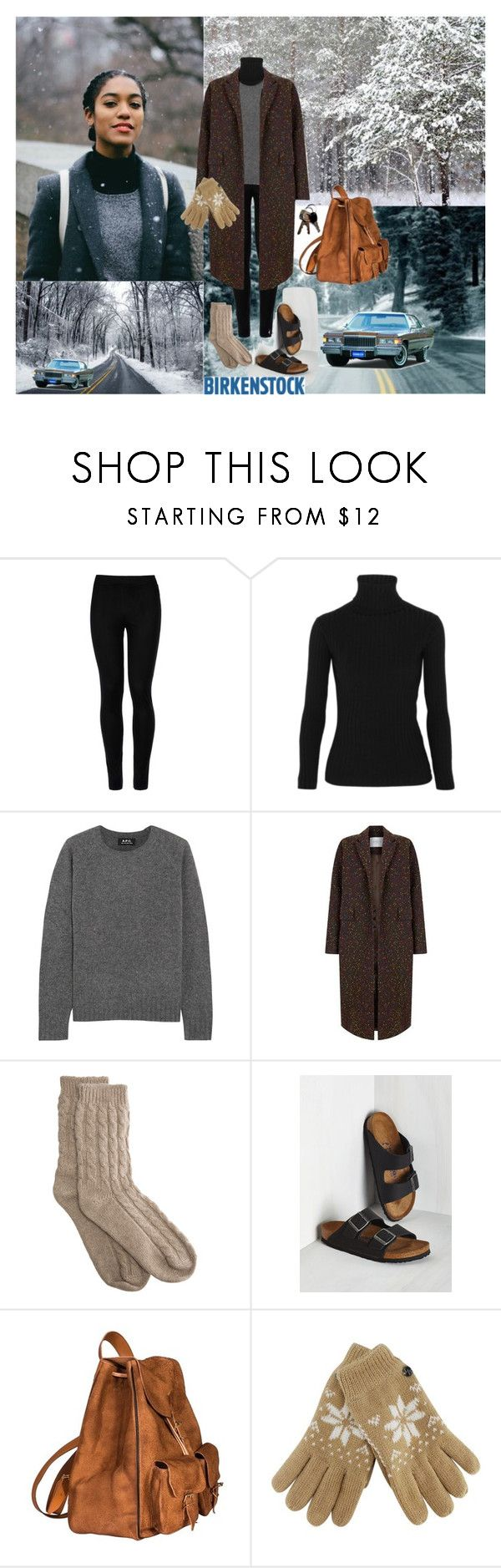 """Jeanette Bradley: Treacherous Winter Driving❤️👩🏽❄️🌨💨👜👣🛣❤️"" by chrisiggy ❤ liked on Polyvore featuring Wolford, Acne Studios, A.P.C., The 2nd Skin Co., Bamford, Birkenstock and Yves Saint Laurent"