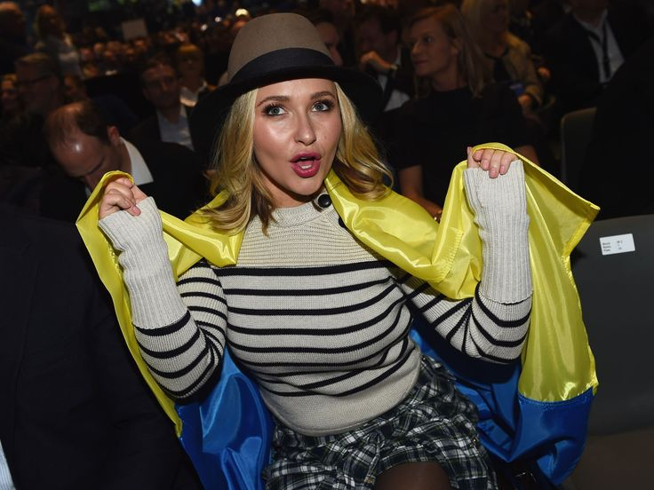 Actress Hayden Panettiere, wife of Wladimir Klitschko shows her support prior to the IBF IBO WBA WBO Heavyweight World Championship contest between Wladimir Klitschko and Tyson Fury at Esprit-Arena on November 28, 2015 in Duesseldorf, Germany.  Lars Baron/Bongarts, Getty Images