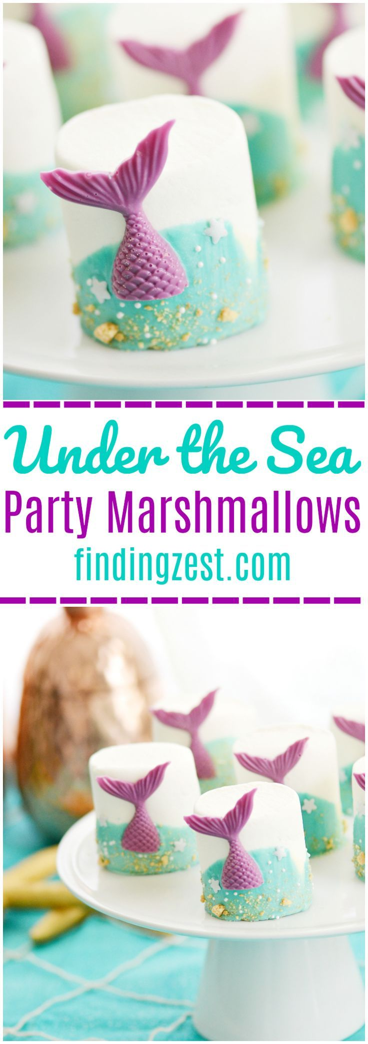 If you are searching for under the sea party ideas, look no further than these mermaid tail marshmallows! This no-bake treat features colorful chocolate mermaid tails and swirled chocolate waves. It is the perfect addition to any mermaid party or under the sea birthday themes! #mermaidparty #mermaidtail #underthesea #birthdayparty #marshmallows