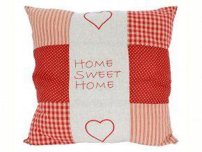 Polštářek 50 x 50 cm Sladký domov - patchwork červenobéžový
