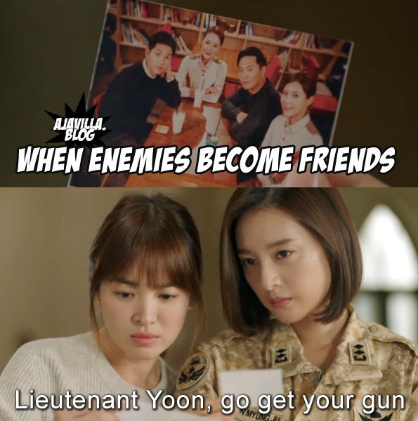 This scene was EVERYTHING!!! When two strong females join forces  - Descendents of the Sun