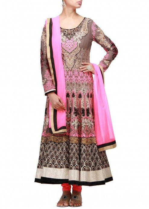 Grey anarkali suit with resham and zari work all over