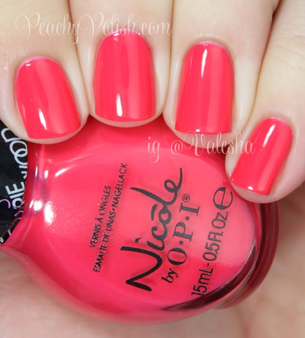 "Nicole by OPI: Carrie Underwood Collection Swatches & Review - Peachy Polish.  Some Hearts"" is a coral colored crelly.  Nice and squishy!"