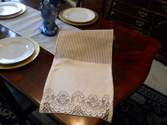 Ticking Stripe Table Runner French Stripe Table by TheFrenchPillow, $48.00