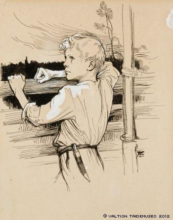 Albert Edelfelt- Originaalipiirustus Vänrikki Stoolin tarinain kuvitukseen, 1897 - 1900 - Edelfelt admired the poet laureate Johan Ludvig Runeberg who was a friend of the family.Edelfelt illustrated Runeberg's epic poem The Tales of Ensign Stål.