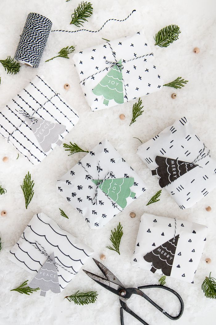 Learn how to make this beautiful Scandinavian pattern wrapping paper! Free printable gift tags included!