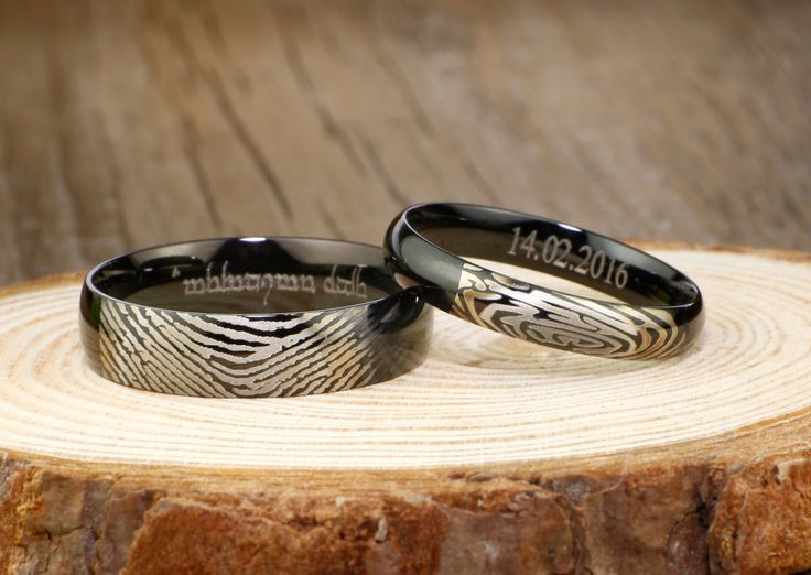 Your Actual Finger Print Rings, His and Her Promise Rings - Black Wedding Titanium Rings Set