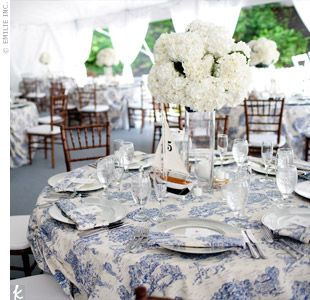 The Reception Tent: Dark Wood Chiavari Chairs, White Cushions And Round  Tables Draped In Light Blue Toile Linens. Tall Glass Vases Topped With  White ...