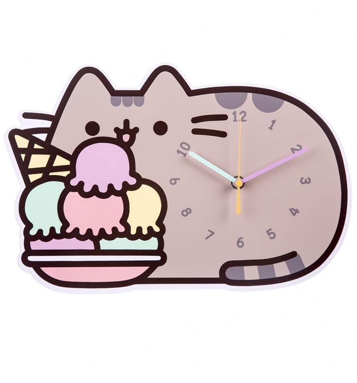 And you thought Pusheen couldn\'t get any sweeter! If you\'re a fan of the cheeky grey tabby and social media sensation, treat yourself to this cute wall clock., featuring Pusheen enjoying one of her favourite snacks. Truly scrumptious!