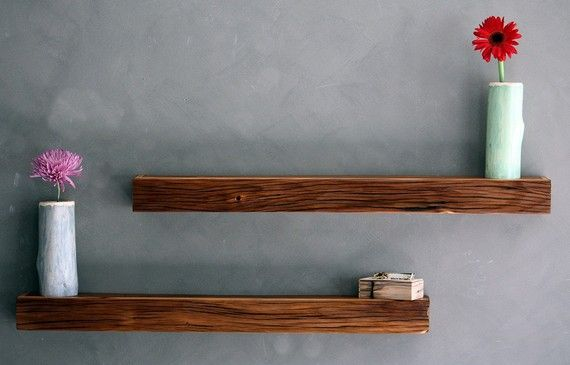 Reclaimed Wall Art Floating Shelf Grey Walls Barn Wood