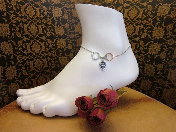 Silver I LOVE MY COP Sterling Anklet Police by PowersThatBead