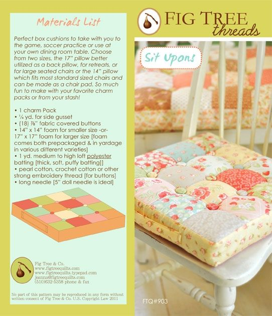 """Sit Upons by Fig Tree & Co. - """"Perfect Box Cushions to take to soccer ganes or use at your dining room table"""": Charm Pack, Box Cushions, Quilt, Chairs, Sewing Pattern, Chair Cushions, Fig Tree, Craft Ideas, Crafts"""