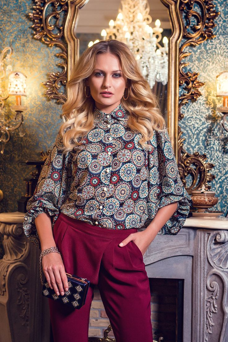PrettyGirl Exclusive Model Brown Shirt, print details, fastened with buttons…
