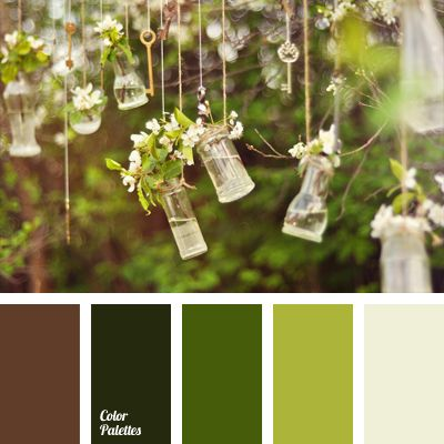 Shades of green play a great role in this palette. They are the background of the composition, while white and brown are used for accents..