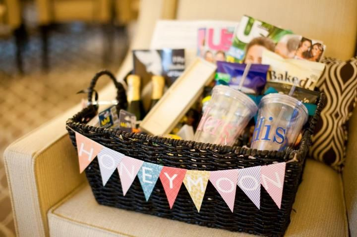 Honeymoon Gift Basket - such a cute idea! I really hope someone does this for us!