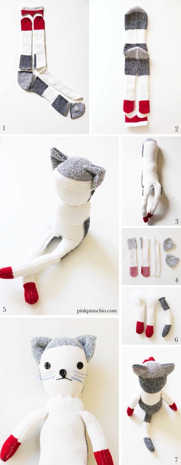 sock-animals5  Took me a minute to realize that step one is one sock and step two is the other sock.  takes two socks to make the cat