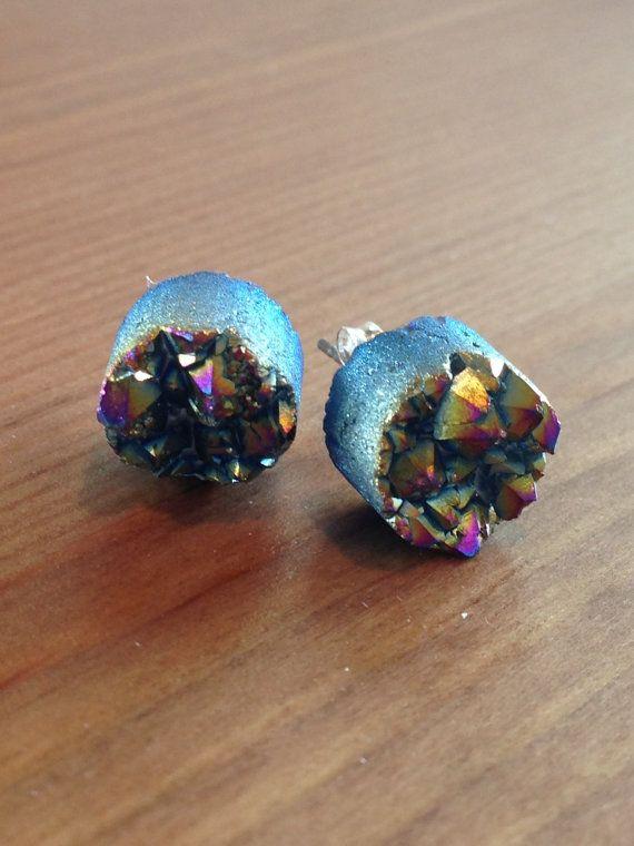 rainbow druzy stud earring by RockInTheRye on Etsy #earring #druzy