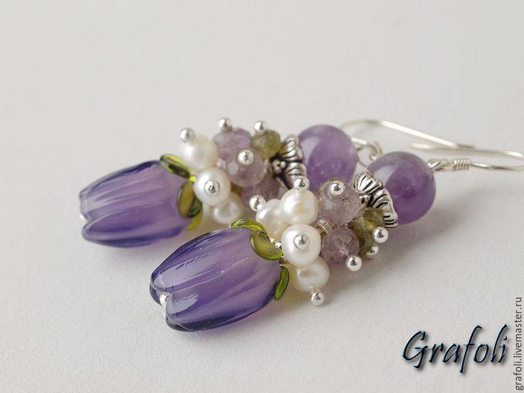 Купить Серьги сиреневые цветы - серьги, серьги с камнями, серьги длинные, сережки, сиреневые серьги