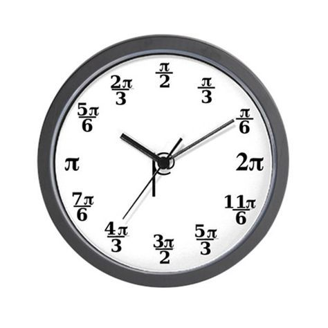 A pi clock, with the values of pi arranged as you would see in a trigonometry class diagram.