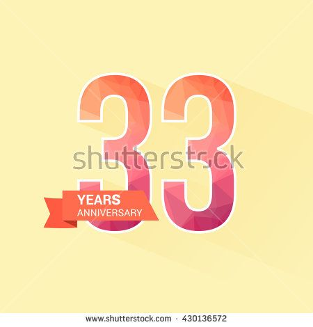 33 Years Anniversary with Low Poly Design