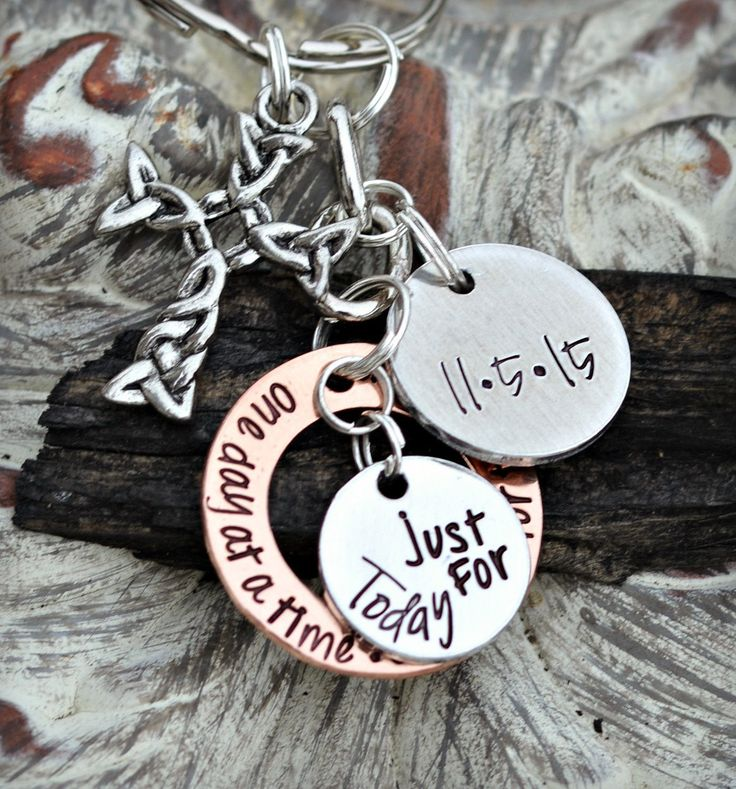 Hand Stamped recovery gift or overcomer keep sake that is a wonderful milestone. This Key chain means a lot to me and my children. I dedicate this to my childre