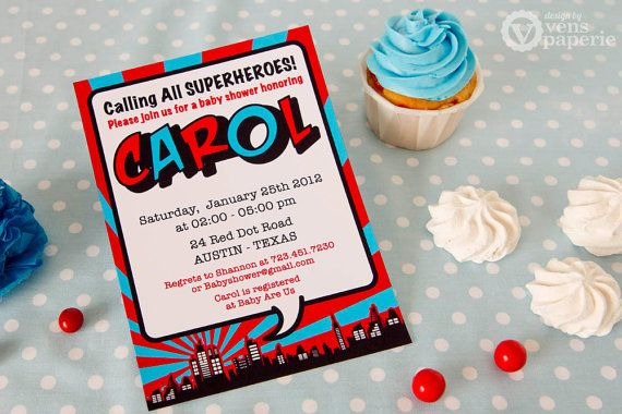 DIY PRINTABLE Invitation Card - Red Superhero Baby Shower Invitation - BS825CA1a1