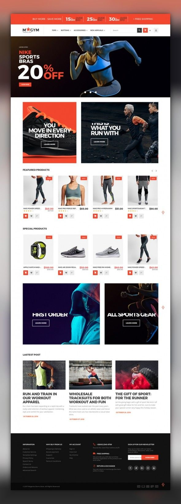 MyGym - Sport Store Magento Theme E-commerce Templates, Magento Themes, Sports, Outdoors & Travel, Sport Templates, More Sports The theme is 100% responsive. Tested carefully on various screens from mobile to desktop. MyGym Magento 2 Theme is created for sporting goods, sports equipment or gym gear online stores. A number o...