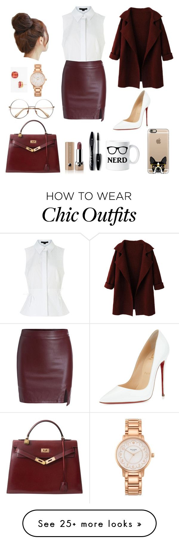 """""""Chic Librarian"""" by eliza-abedi on Polyvore featuring Kate Spade, Alexander Wang, Pin Show, WithChic, Christian Louboutin, Hermès, Casetify, Marc Jacobs, Lancôme and women's clothing"""