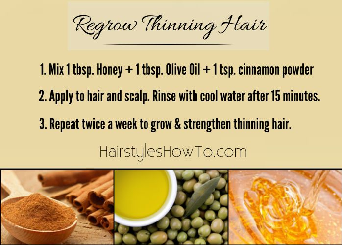Regrow Thinning Hair - How to regrow thinning hair using 1 tbsp olive oil, 1 tbsp honey and 1 tsp cinnamon powder.                                                                                                                                                     More