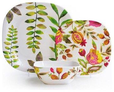 Melamine Floral Leaf Design 12 Piece Dinnerware Set beach-style-dinnerware-sets